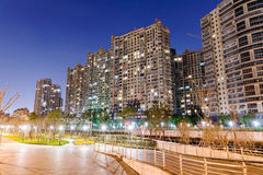Night scene of apartments in Shanghai Royalty Free Stock Image