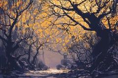 Night scene of autumn forest vector illustration