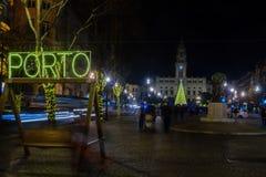 Night scene of the Avenida dos Aliados, in Porto. PORTO, PORTUGAL - DECEMBER 24, 2017: Night scene of the Avenida dos Aliados, and the city hall, with a Royalty Free Stock Photo