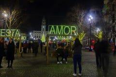 Night scene of the Avenida dos Aliados, in Porto. PORTO, PORTUGAL - DECEMBER 24, 2017: Night scene of the Avenida dos Aliados, and the city hall, with Royalty Free Stock Photo