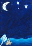 Night scene background. Acrylic illustration of the night scene background Royalty Free Stock Photography