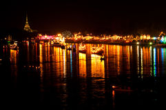 Night scene at Bangpakong river Royalty Free Stock Photo