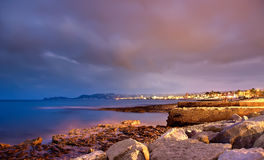 Night scene on the beach. Coast of Javea beach at night, night scene Royalty Free Stock Photos