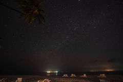 Night Scene beautiful sea and clouds illuminated by the stars. At Maldives Stock Photos