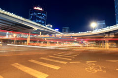 Night scene of beijing international trade bridge Stock Images