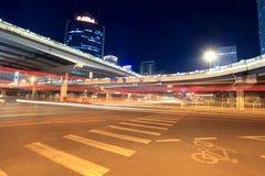 Night scene of beijing international trade bridge. The light trails on beijing international trade bridge,China Stock Images