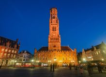 Night scene of Belfry Tower Belfort of Bruges royalty free stock photography