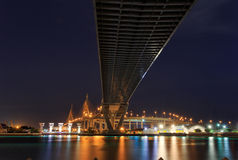 Night Scene Bhumibol Bridge, Bangkok, Thailand Royalty Free Stock Photography