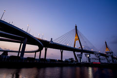 Night Scene Bhumibol Bridge, Thailand Royalty Free Stock Photo
