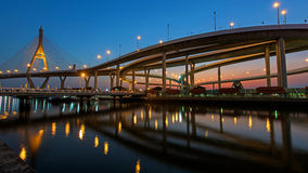 Night Scene of Bhumibol Bridge Royalty Free Stock Photos