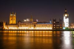 Night Scene of Big Ben and House of Parliament in London Royalty Free Stock Images