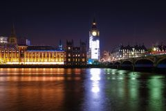 Night Scene of Big Ben and House of Parliament in London Royalty Free Stock Photos