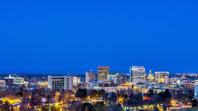 Night scene of Boise Idaho. City of Boise in the early morning before sunrise Stock Photos