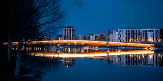 Night scene - Bridgde in Joensuu Royalty Free Stock Photo
