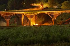 Night scene of bridge and people camping place Stock Image