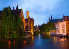 Night scene of Brugge Stock Images