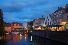 Night scene of Brugge Stock Photos
