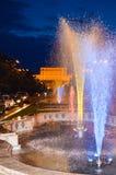 Night scene in Bucharest, Unirii avenue Royalty Free Stock Photos