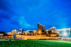 Night Scene Building In Minsk, Belarus Royalty Free Stock Photography