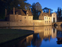 Night Scene, Buildings And Water. A scenic view of old buildings and a canal at night. The reflections of the buildings are visible through the swans on the Stock Image
