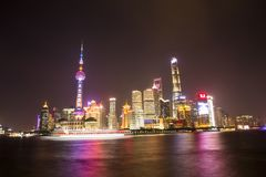 Night scene in the Bund, Shanghai. The Bund English: The Bund, located on the Bank of the Huangpu River in Huangpu District in the center of Shanghai, the outer Royalty Free Stock Photography