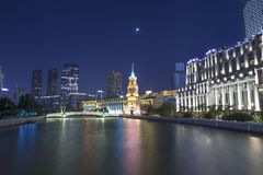 Night scene in the Bund, Shanghai. The Bund English: The Bund, located on the Bank of the Huangpu River in Huangpu District in the center of Shanghai, the outer Royalty Free Stock Photos