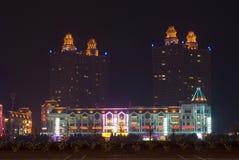 Night scene. With car lighting in Xinghai square Dalian, China Stock Photography
