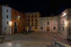 Night view of Cathedral square, Girona, Catalonia, Spain stock image