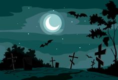 Night scene at cemetery. Night scene at the cemetery with bats Stock Photo