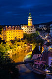 Night scene in Cesky Krumlov with castle and river Royalty Free Stock Photo