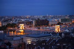 Night scene of Chain bridge at Budapest Royalty Free Stock Images