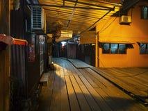 Night scene of Chew Jetty, Penang stock image