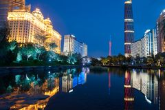 Night scene of China Guanghzou city Royalty Free Stock Images