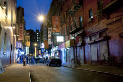 Night scene in China town New York City Stock Photos