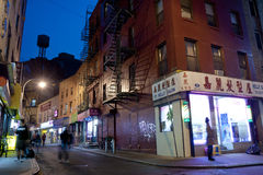 Night scene in China town New York City Royalty Free Stock Photo