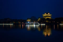 Night Scene of Chinese Old building - tower Royalty Free Stock Image