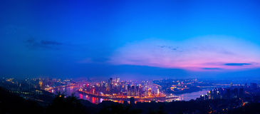 Night scene of Chongqing. On the top of mountain, view the whole Chongqing city. It's so wonderful that you even unbelieved it. Sunset glow, Lights,colorful Royalty Free Stock Photos