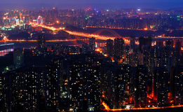 Night scene of Chongqing. On the top of mountain, view the whole Chongqing city. It's so wonderful that you even unbelieved it. Sunset glow, Lights,colorful Stock Images