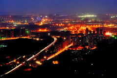Night scene of Chongqing. On the top of mountain, view the whole Chongqing city. It's so wonderful that you even unbelieved it. Sunset glow, Lights,colorful Royalty Free Stock Photo