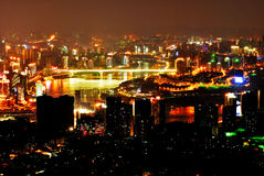 Night scene of Chongqing. On the top of mountain, view the whole Chongqing city. It's so wonderful that you even unbelieved it. Sunset glow, Lights,colorful Royalty Free Stock Images