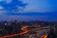 Night scene of Chongqing. On the top of mountain, view the whole Chongqing city. It's so wonderful that you even unbelieved it. Sunrise, Lights,colorful morning Stock Photos