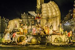 Christmas Decoration, Piazza San Pietro, Rome, Italy. Night scene christmas decoration at san pietro square, Rome, Italy stock image