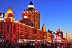 Night scene in city. The night scene of street is in Manzhouli City which is in Sino-Russia frontier stock photos