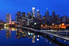 Night scene of the city of Philadelphia skyline Stock Images