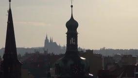 Night scene, city of Prague, the Metropolitan Church.  stock footage