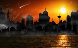 Night scene of city skyline Stock Images