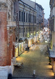 Night scene of the city of Vicenza with Christmas lights Royalty Free Stock Photography