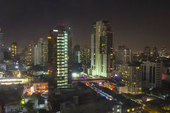 Night scene in cityscape at Bangkok Royalty Free Stock Photography