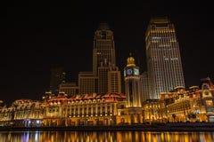 Night scene cityscape of JInwan Plaza, popular night scene landm Stock Image