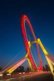 Night scene cityscape side view of Tianjin ferris wheel ,Tianjin Stock Image